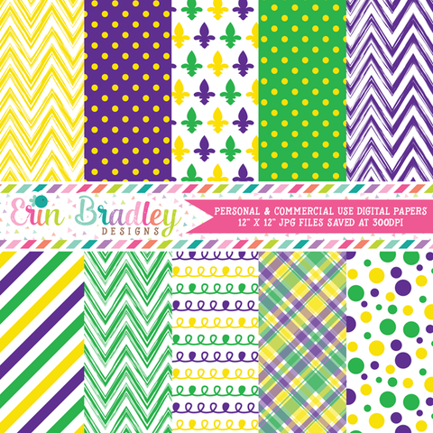 Purple Yellow Green Digital Paper Pack