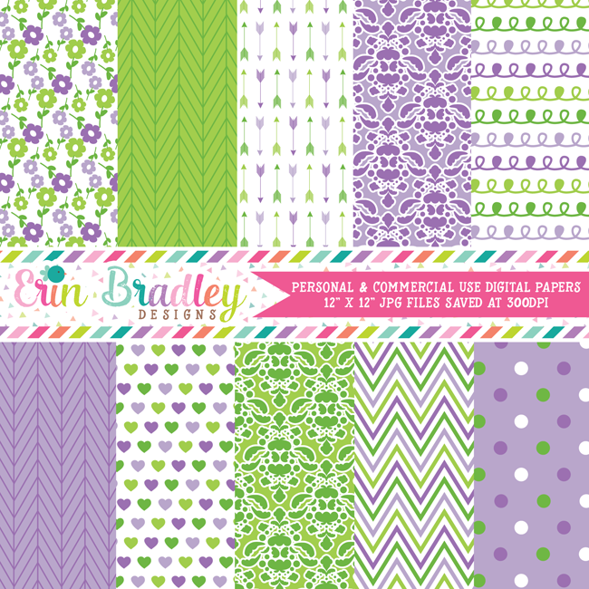 Purple and Green Digital Paper Pack