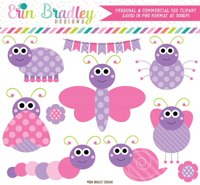 Pink and Purple Cute Bugs Clipart