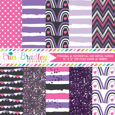 Purple & Pink Hearts Digital Paper Pack
