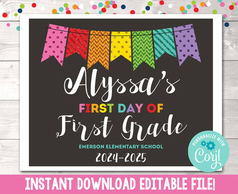 Editable First Day of School Sign Rainbow Glitter Banner Instant Download