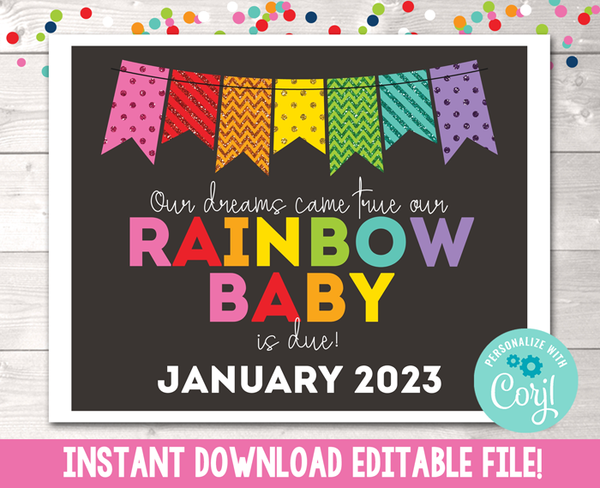 Editable Rainbow Baby Pregnancy Reveal Announcement Rainbow Glitter Instant Download