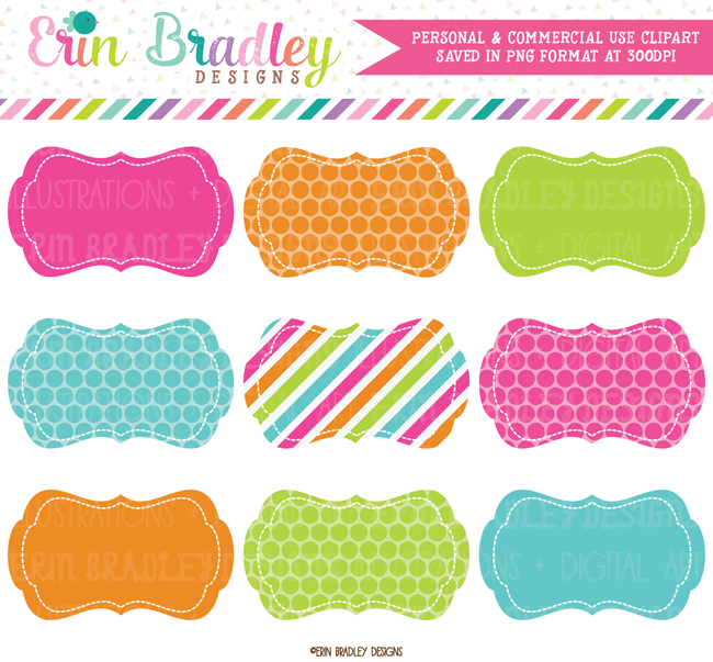 Rainbow Labels Clipart | Commercial Use Graphics