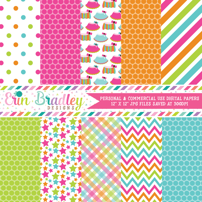 Rainbow Tutus Printable Paper Pack