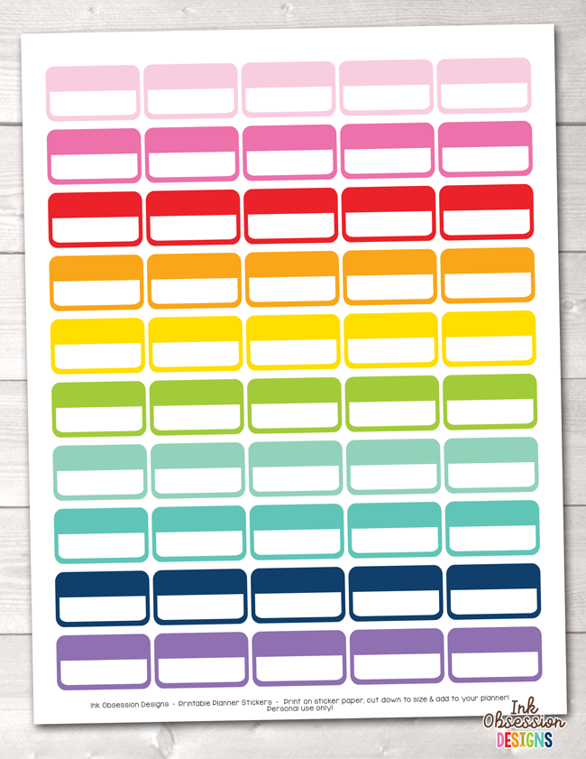Rectangle Boxes Printable Planner Stickers