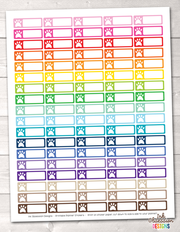 Rectangle Paw Print Printable Planner Stickers Instant Download PDF