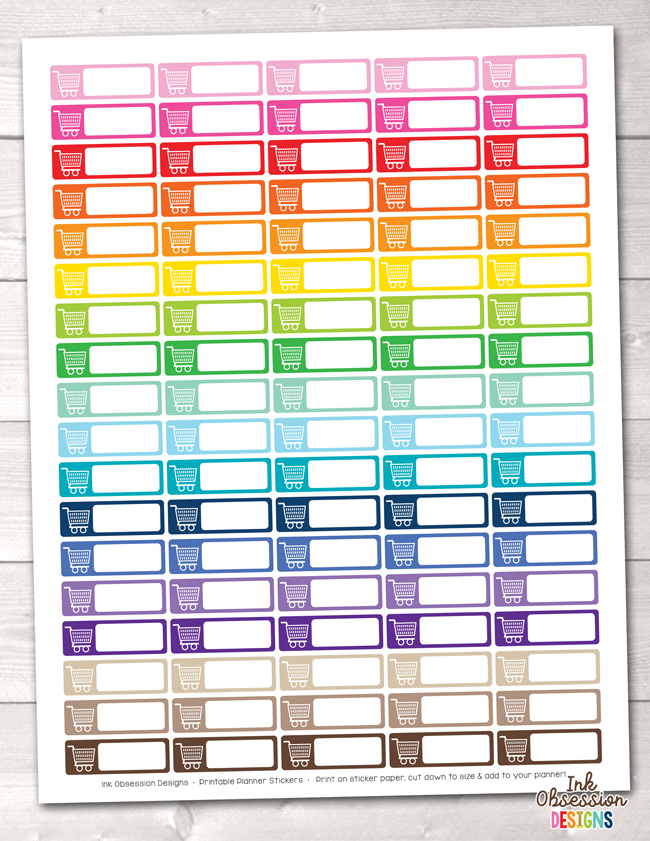 Rectangle Shopping Carts Printable Planner Stickers