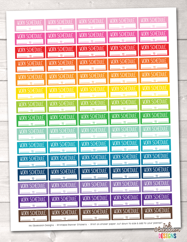 Rectangle Work Schedule Printable Planner Stickers Instant Download PDF