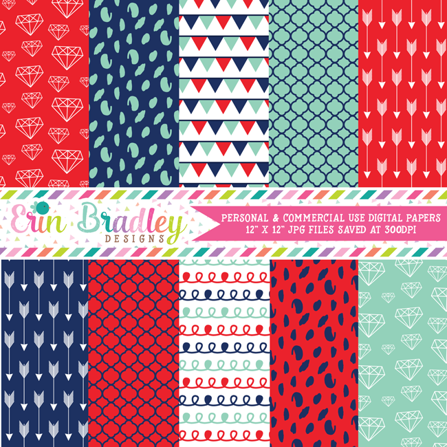 Navy Blue Aqua Red Digital Papers