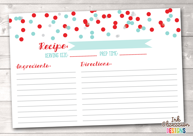 Red Aqua and Gray Polka Dot Confetti Printable Recipe Cards