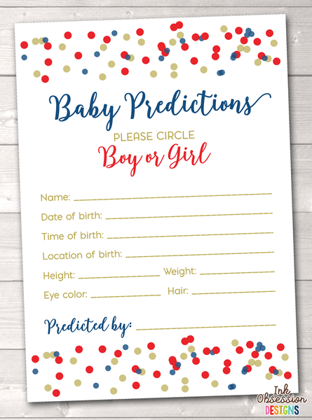 Red and Blue Polka Dot Confetti Baby Predictions Card
