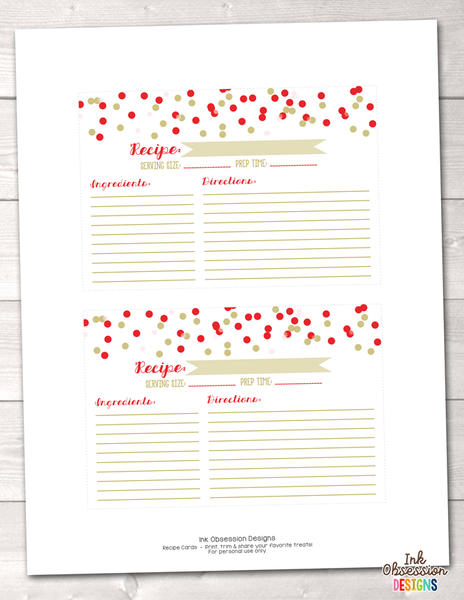 Red and Gold Polka Dot Confetti Printable Recipe Cards