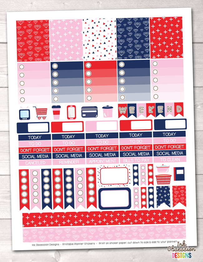 Navy Blue Red Pink Printable Planner Stickers Weekly Kit