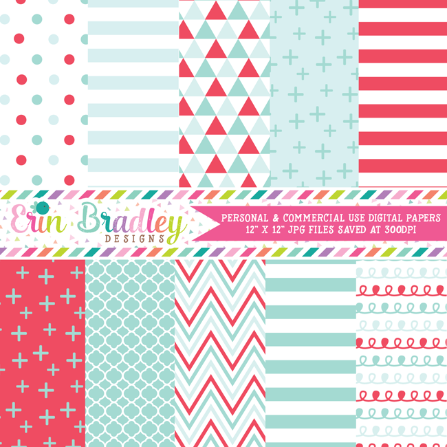 Red and Aqua Blue Digital Papers