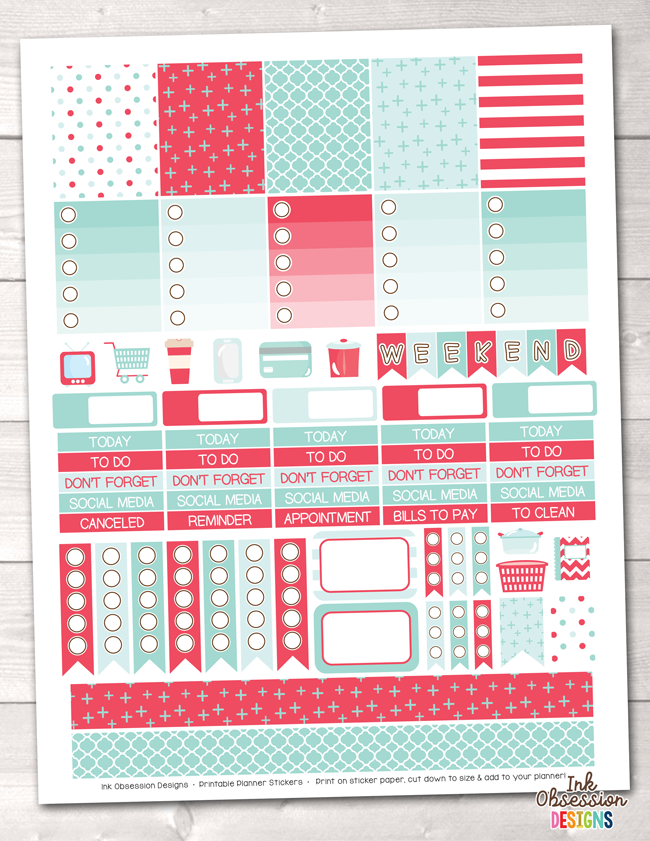 Red and Aqua Blue Printable Planner Stickers Weekly Kit