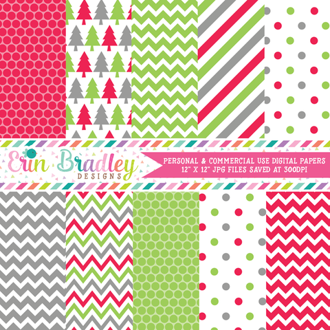 Holiday Red Green Gray Christmas Digital Paper Pack