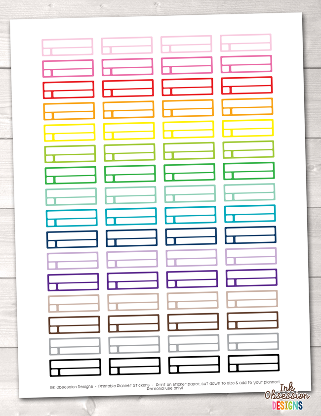 Reminder Boxes Printable Planner Stickers