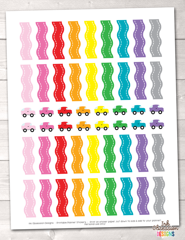 picture relating to Printable Road Trip Planner named Street Holiday Printable Planner Stickers