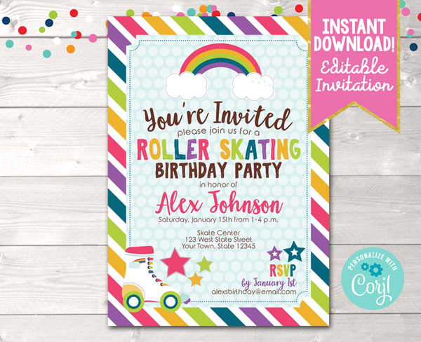 Editable Roller Skating Birthday Party Invitation Instant Download Digital File