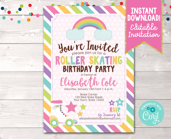 Editable Pink Roller Skating Birthday Party Invitation Instant Download Digital File