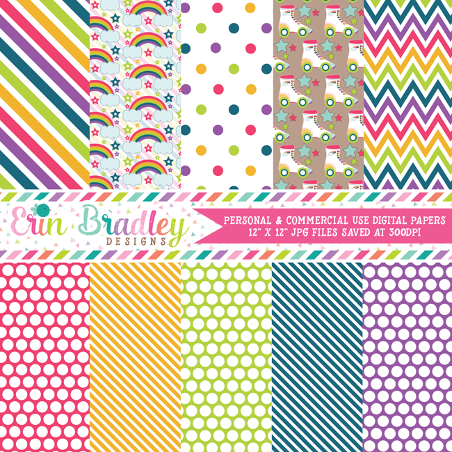 Roller Skating Digital Paper Pack