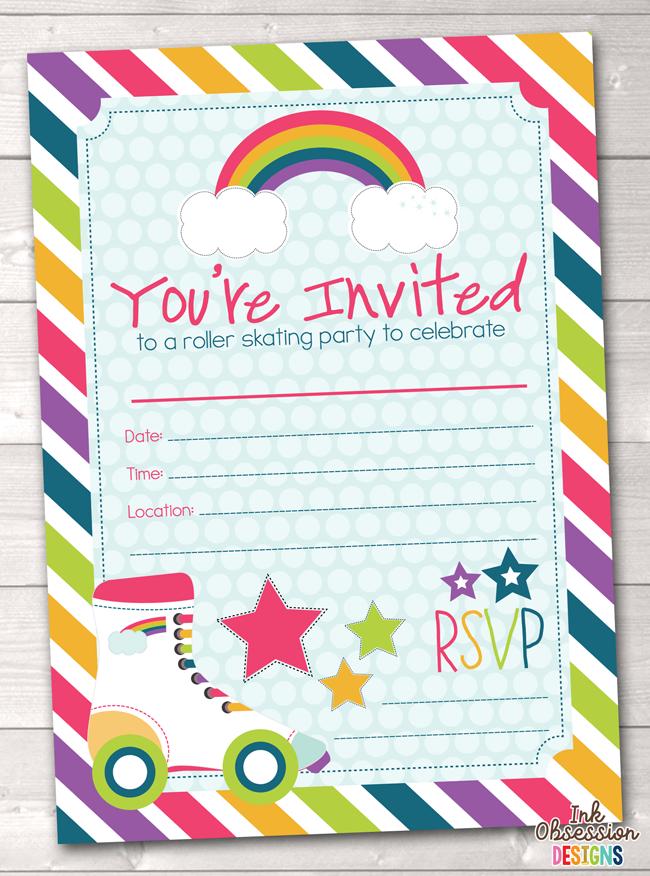 Roller Skating Party Printable Birthday Party Invitation