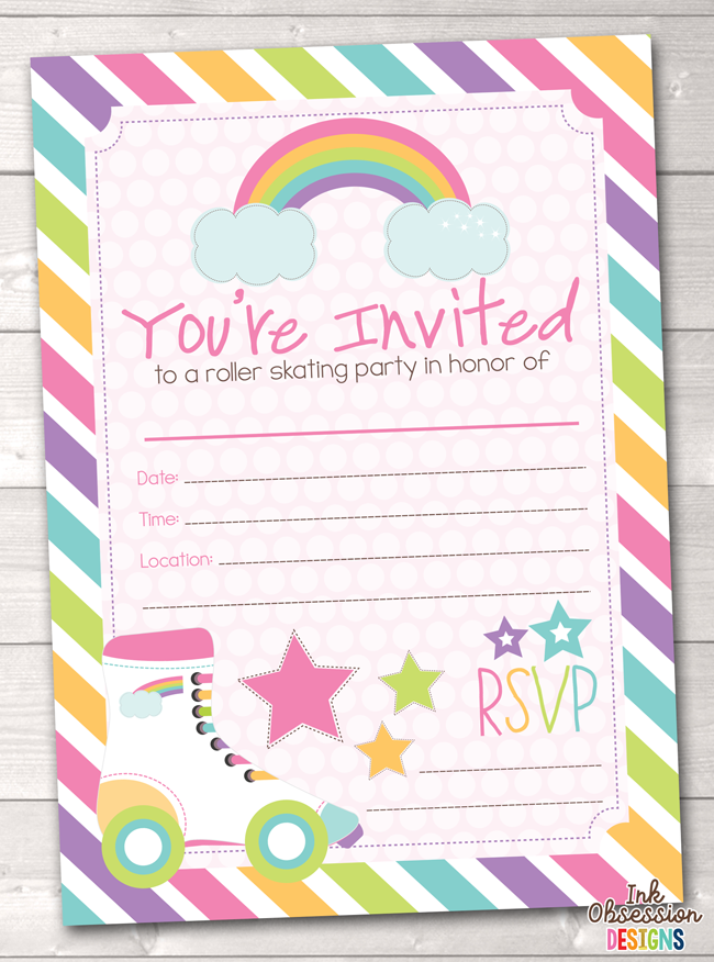 Pink Roller Skating Party Printable Birthday Invitation
