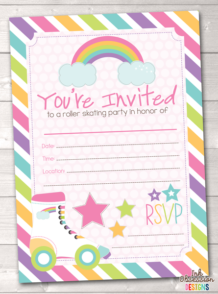 Pink Roller Skating Party Printable Birthday Party Invitation