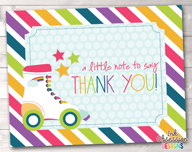 graphic relating to Printable Thank You Card named Roller Skating Get together Printable Thank By yourself Playing cards