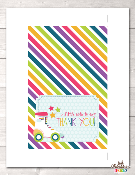 Roller Skating Party Printable Thank You Cards