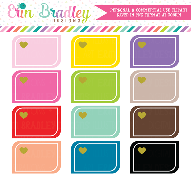 Rounded Corner Heart Boxes Clipart