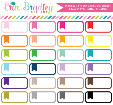 Rounded Flag Boxes Clipart