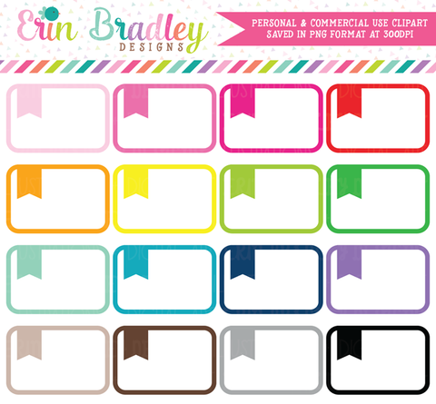 Rounded Flag Boxes Large Clipart