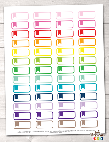 Rounded Flag Labels Printable Planner Stickers