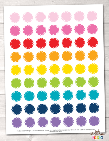 Scalloped Circles Printable Planner Stickers