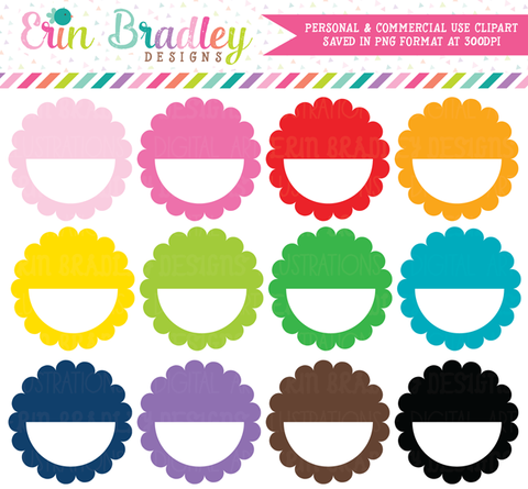 Scalloped Half Circles Clipart