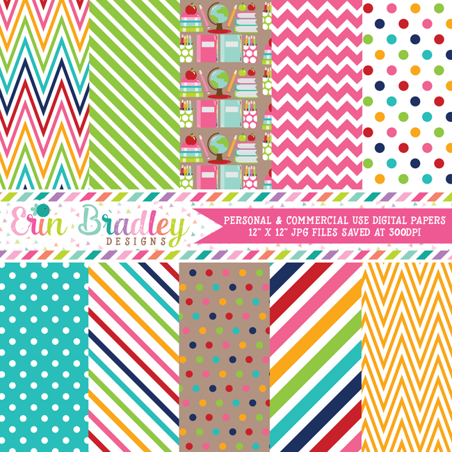School Supplies Digital Paper Pack
