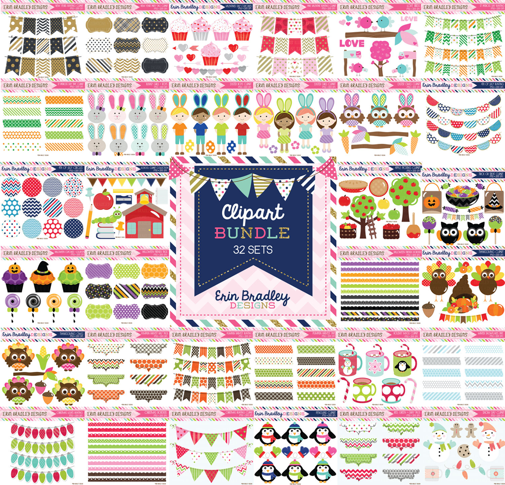 Commercial Use Seasonal Clipart Bundle