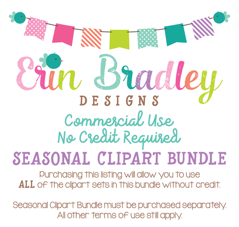 Commercial Use No Credit Required Seasonal Clipart Bundle