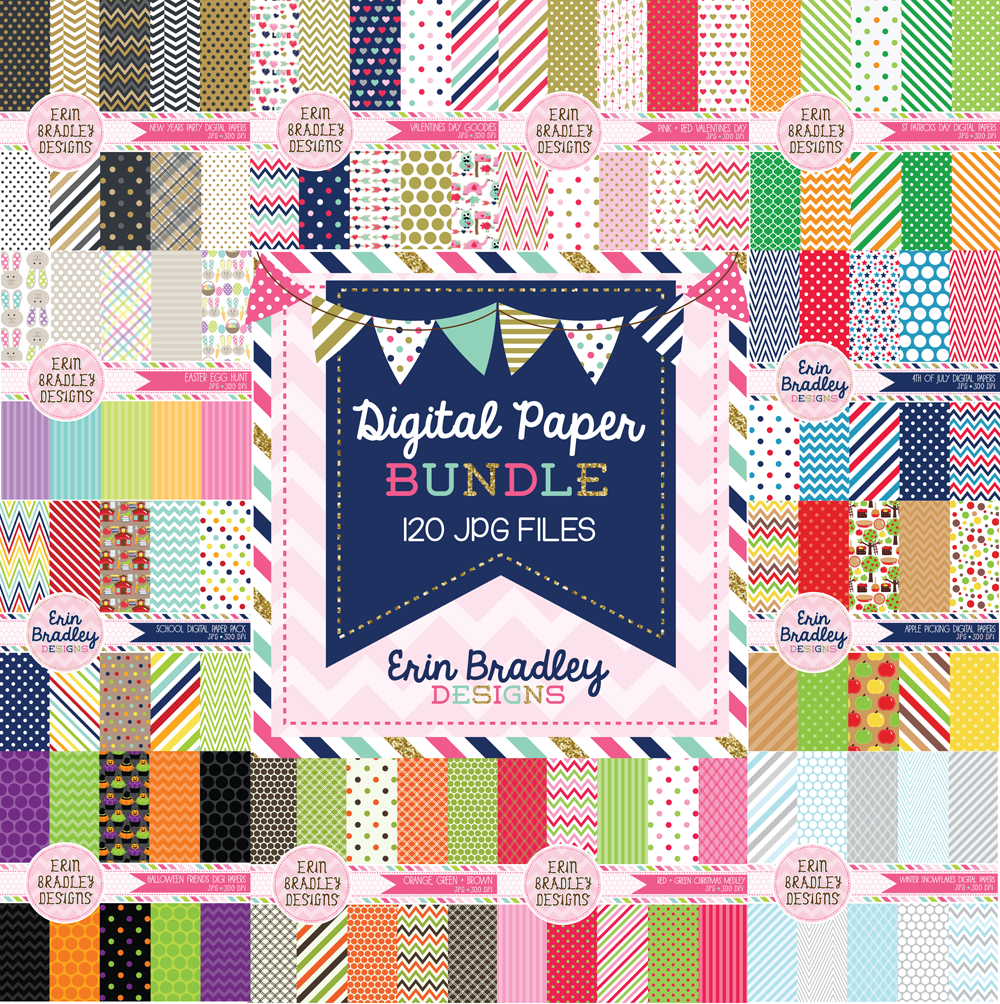 Commercial Use Seasonal Digital Paper Bundle