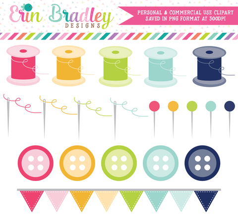 Commercial Use Sewing Clipart Set