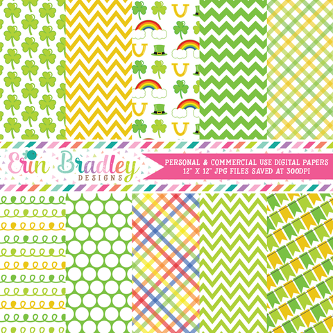 St. Patricks Day Shamrocks Digital Paper Packs