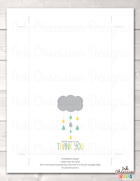 Shower Cloud Printable Thank You Cards