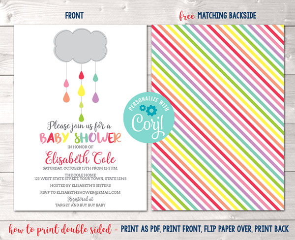 Editable Shower Cloud Baby Shower Invitation Instant Download Digital File