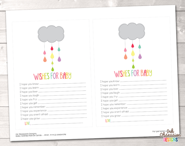 Colorful Shower Cloud Printable Baby Wishes Cards