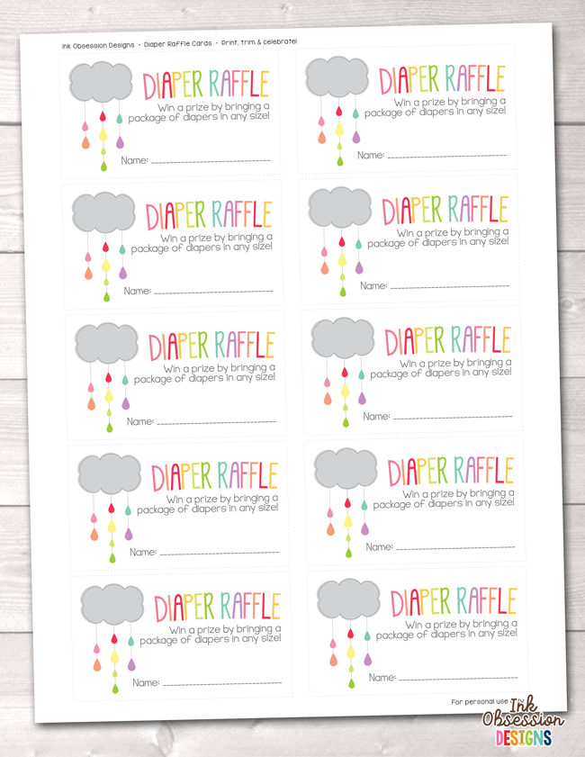 image regarding Printable Diaper named Colourful Shower Cloud Printable Diaper Raffle Ticket