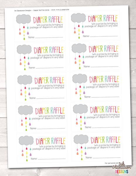 Colorful Shower Cloud Printable Diaper Raffle Ticket