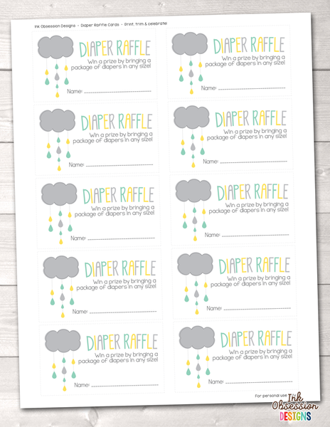 Yellow and Aqua Blue Shower Cloud Printable Diaper Raffle Ticket