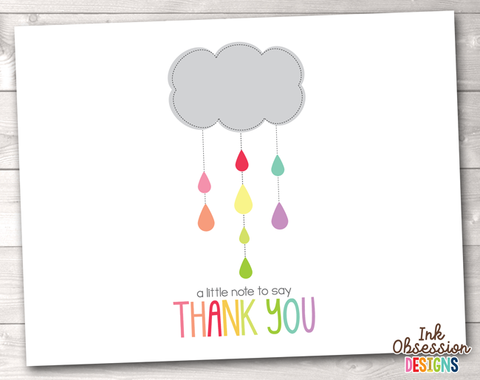 Shower Cloud Colorful Printable Thank You Cards