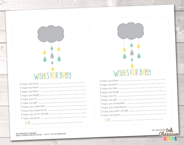 Shower Cloud Yellow and Aqua Blue Printable Baby Wishes